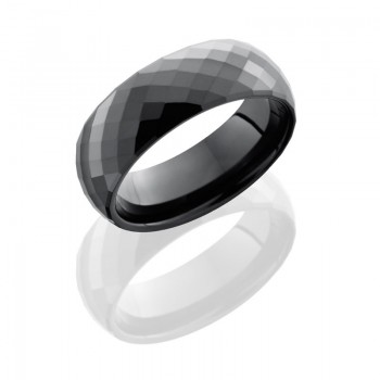 Lashbrook Ceramic 6mm Domed Band With Beveled Edges And Facets CRDD006