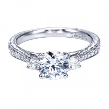 Gabriel & Co Vintage 14K White Gold Round Three Stone Diamond Engagement Ring ER7288W44JJ