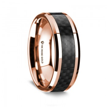 Thorsten 14k Rose Gold Polished Beveled Edges Wedding Ring G1642-BEBC