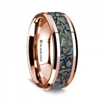 Thorsten 14K Rose Gold Polished Beveled Edges Wedding Ring  G1651-BEBD