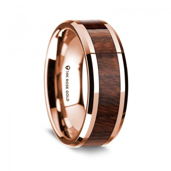 Thorsten 14K Rose Gold Polished Beveled Edges Wedding Ring G1657-BECW