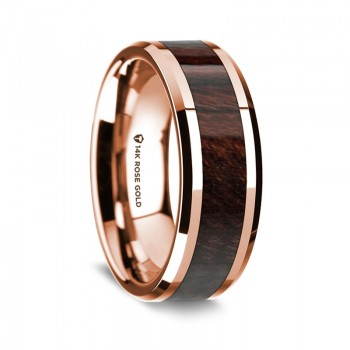 Thorsten 14K Rose Gold Polished Beveled Edges Wedding Ring G1662-BEBW