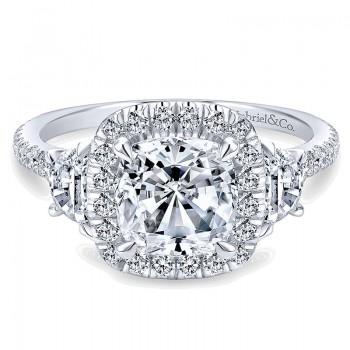 Gabriel & Co 14K White Gold 3 Stone Diamond Cushion Cut Halo Engagement Ring ER9189W44Jj