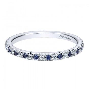 Gabriel & Co 14K White Gold Diamond Sapphire Eternity Band An11357-6W44Sa AN11357-6W44SA