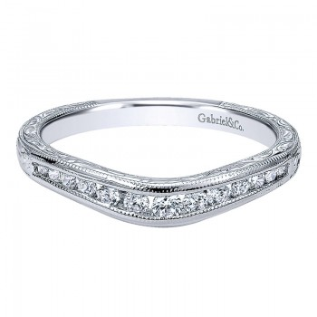 Gabriel & Co 14K White Gold Diamond Curved Anniversary Band AN10965W44JJ