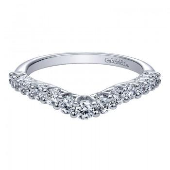 Gabriel & Co 14K White Gold Diamond Curved Anniversary Band AN10970W44JJ