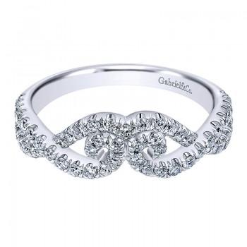 Gabriel & Co 14K White Gold Diamond Curved Anniversary Band AN11008W44JJ