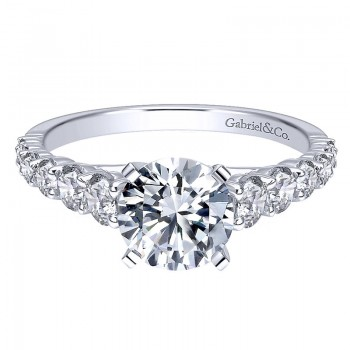 Gabriel & Co 14K White Gold Diamond Graduating Pave With Straight Cathedral Setting 14K White Gold Engagement Ring ER11737R6W44JJ