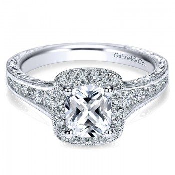 Gabriel & Co 14K White Gold Diamond Halo Channel & Milgrain Engagement Ring ER8793W44Jj