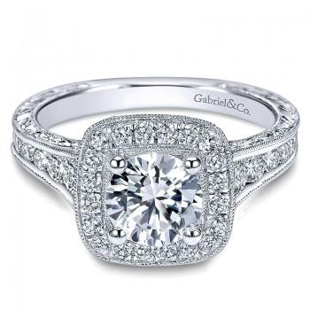Gabriel & Co 14K White Gold Diamond Halo Channel & Milgrain Engagement Ring ER8794W44Jj