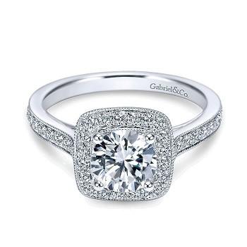 Gabriel & Co 14K White Gold Diamond Halo Channel Engagement Ring ER7525W44Jj