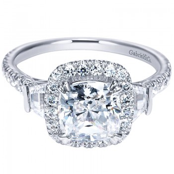 Gabriel & Co 14K White Gold Diamond Halo Engagement Ring ER9191W44JJ