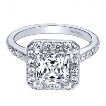 Gabriel & Co 14K White Gold Diamond Halo Engagement Ring ER9784W44JJ