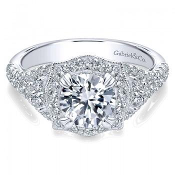 Gabriel & Co 14K White Gold Diamond Pave & Milgrain Halo Engagement Ring ER10751W44Jj