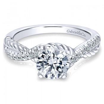 Gabriel & Co 14K White Gold Diamond Pave & Roped Criss Cross Engagement Ring ER10298W44Jj