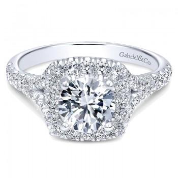 Gabriel & Co 14K White Gold Diamond Pave Halo Engagement Ring ER10290W44Jj