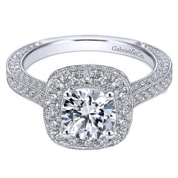Gabriel & Co 14K White Gold Diamond Pave Halo Milgrain & Channel Set Engagement Ring ER7256W44Jj