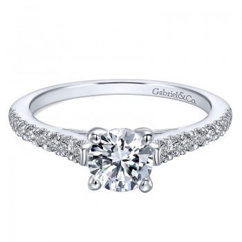 Gabriel & Co 14K White Gold Diamond Petite Pave Straight Engagement Ring ER12297R3W44Jj