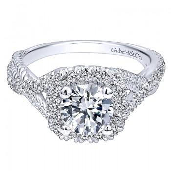 Gabriel & Co 14K White Gold Diamond Riata & Pave Twist Halo Engagement Ring ER10060W44Jj
