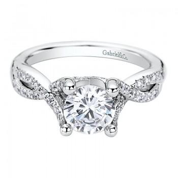 Gabriel & Co 14K White Gold Diamond Split Shank Engagement Ring ER9286W44JJ