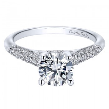 Gabriel & Co 14K White Gold Diamond Straight Micropave With Cathedral Setting Engagement Ring ER12 ER12327R4W44JJ