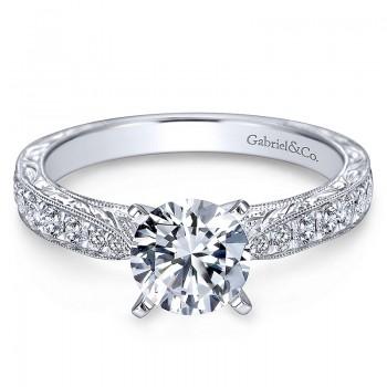 Gabriel & Co 14K White Gold Diamond Straight Milgrain & Pave Channel Engagement Ring ER7529W44Jj