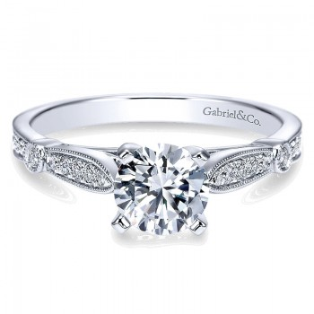 Gabriel & Co 14K White Gold Diamond Straight Petite Channel With Cathedral Setting 14K White Gold Engagement Ring ER7999W44JJ