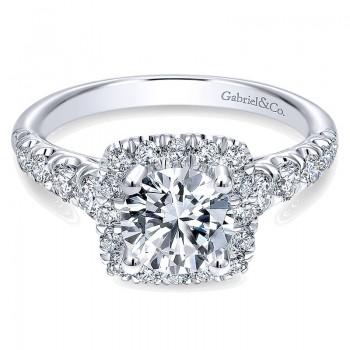 Gabriel & Co 14K White Gold Graduating Pave & Round Diamond Halo Engagement Ring ER10909W44Jj