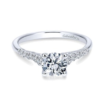 Gabriel & Co 14K White Gold Pave Graduating Diamonds With Straight Shank Engagement Ring ER11755R3W44JJ