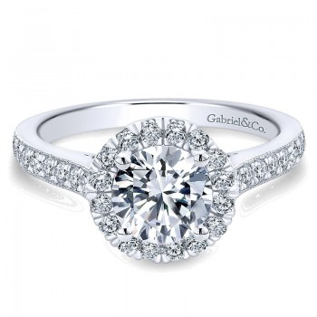 Gabriel & Co 14K White Gold Round Diamond Halo With Channel Setting Engagement Ring ER7278W44Jj